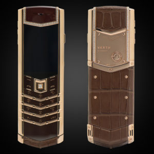 VERTU SIGNATURE S COCOA ALLIGATOR ROSE GOLD DIAMONDS